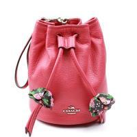 【COACH】限量 春季新款 手提花朵真皮束口包(粉色)