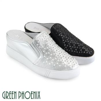GREEN PHOENIX 雷射鏤空雕花仿珍珠壓克力水鑽全真皮內增高前包拖鞋/穆勒鞋U35-26404