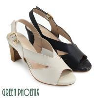 GREEN PHOENIX 俐落V型線條鏤空金屬扣環全真皮高跟魚口涼鞋U50-2A631