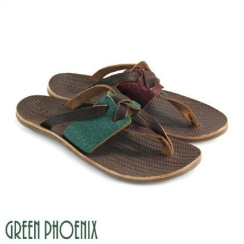 GREEN PHOENIX 雙彩交叉扭轉全真皮平底夾腳拖鞋U9-21511