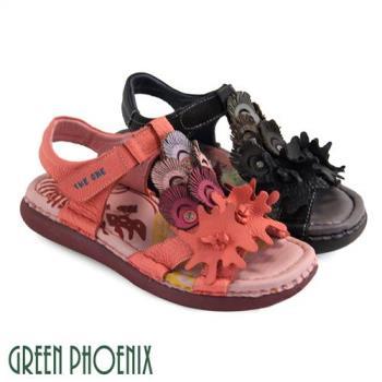 GREEN PHOENIX 多彩層次孔雀羽毛不規則造型魔鬼氈全真皮休閒氣墊涼鞋U51-2G509