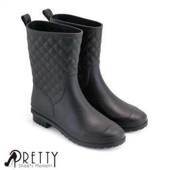 Pretty 時尚菱格紋低筒雨靴B-2J913