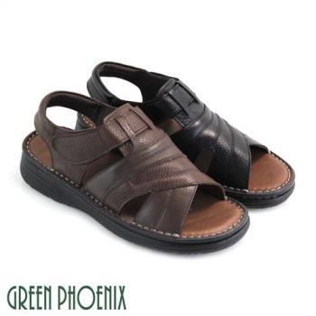 GREEN PHOENIX 寬版帶鏤空縫線魔鬼氈全真皮平底涼鞋(男鞋)T12-12211