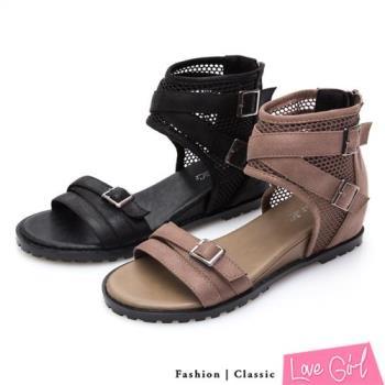 Love Girl 韓版網紋交叉環裸內增高羅馬涼鞋