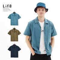 Life8-Casual 全棉挺紗 低調拼接口袋短袖襯衫