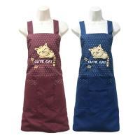 可愛貓咪兩口袋圍裙F591-藍紅二入任組