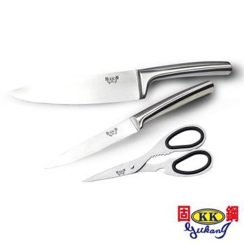 固鋼一體成形不鏽鋼典藏刀具4件組2刀1剪1盒