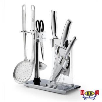 固鋼總舖師系列一體成形不鏽鋼餐廚7件組3刀1剪2勺1座