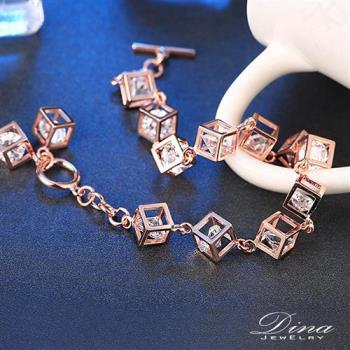 DINA JEWELRY蒂娜珠寶  方心鑽 玫瑰金925純銀手鍊CZ鑽手環 ( LKN63352)