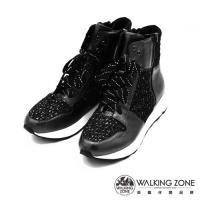Walking ZONE  真皮內增高側拉短筒休閒鞋-兩色(黑、藍)