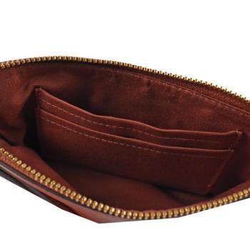 COACH馬車LOGO防刮皮革零錢包/手拿包(棕橙色)