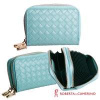 【ROBERTA 諾貝達】義大利牛皮-雙層式-零錢/卡片包-編織紋-藍色