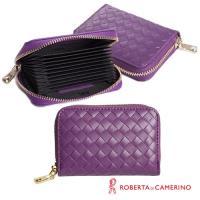 【ROBERTA 諾貝達】義大利牛皮-拉鍊式-多層卡片包-編織紋-紫色