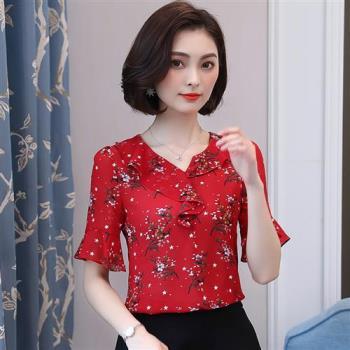 ALLK 印花雪紡上衣 紅色(M-XL)