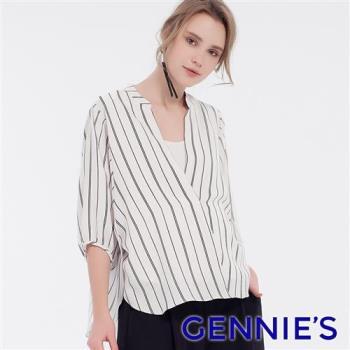 Gennies奇妮-V字立領七分袖哺乳衣-白底黑條(T3F10)