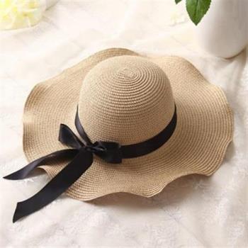 【米蘭精品】草帽防曬遮陽帽-時尚優雅波浪邊大帽簷2色73rp113