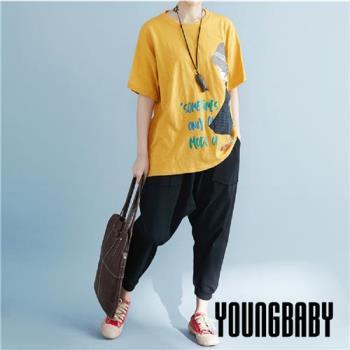 YOUNGBABY中大碼-SOMETIMES草帽格紋洋裝女孩棉T