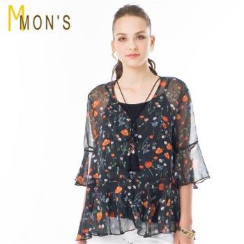 MONS 法式飄逸印花絲質二件式上衣