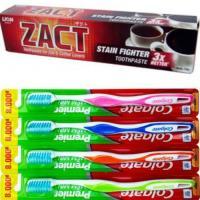 ZACT獅王漬脫牙膏190gx6入+Colgate 高露潔 高效能潔淨細毛牙刷x12支