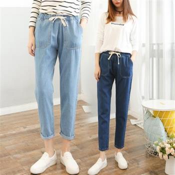A3 韓版休閒鬆緊顯瘦牛仔褲(1+1)二件組