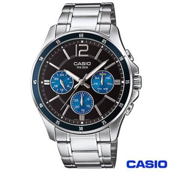 CASIO卡西歐 時尚三眼爵士石英腕錶 MTP-1374D-2A