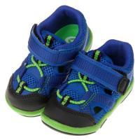 《布布童鞋》Moonstar日本藍色透氣寶寶機能護趾涼鞋(13~14.5公分)I8E825B