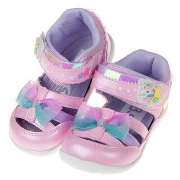 《布布童鞋》Moonstar日本粉色彩虹獨角獸寶寶機能護趾涼鞋(13~14.5公分)I8G034G