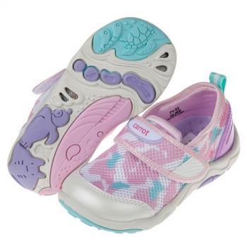 《布布童鞋》Moonstar日本粉白色速乾透氣兒童機能運動鞋(15~19公分)I8I001M