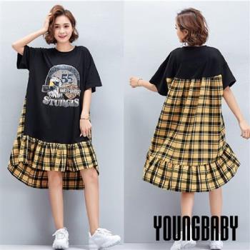 YOUNGBABY中大碼-55號老鷹拼接黃格紋洋裝