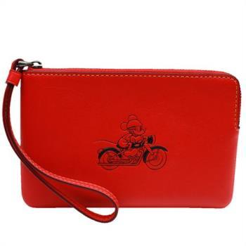 【COACH】MICKEY 迪士尼聯名款米奇全皮萬用手拿包(紅色)