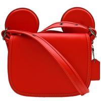 【COACH】MICKEY 迪士尼限量聯名款大耳朵全皮革斜背包(紅色)