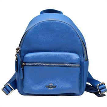 【COACH】經典金屬馬車前拉鍊口袋皮革後背包(藍色)