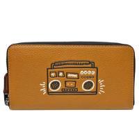 【COACH】Keith Haring聯名 荔枝紋皮革拉鍊長夾(焦糖咖 / 復古收音機)