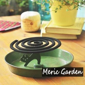 Meric Garden手工鐵製蚊香盤/薰香盤/小物收納盤黑色款(貓咪尾巴)