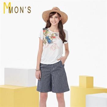 MONS法式休閒寬版亞麻褲