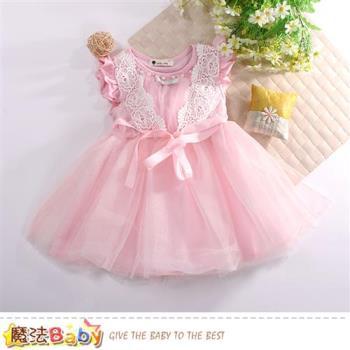 魔法Baby 女童裝 短袖蕾絲裙洋裝~k50733