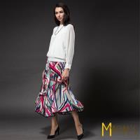MONS幾何圖色彩壓褶長裙