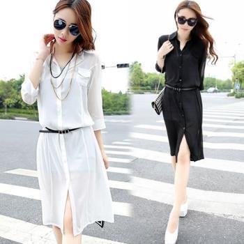 韓國KW 簡約純色長版防曬雪紡罩衫