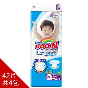 GOO.N日本大王尿布黏貼型XL-境內版透氣舒柔(42片X4串)
