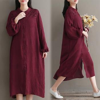 韓國KW  純色復古立領寬鬆長襯衫洋裝