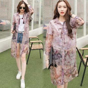 韓國KW 氣質印花襯衫領防曬雪紡罩衫