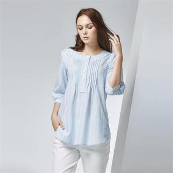 FIORE花蕾時尚圓領條紋細褶純棉上衣