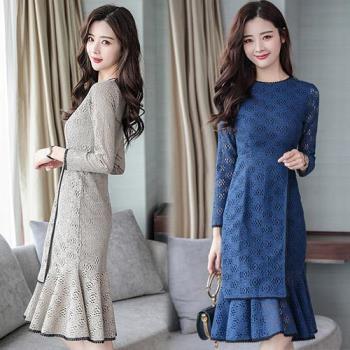 韓國KW 優雅純色蕾絲縷空魚尾洋裝