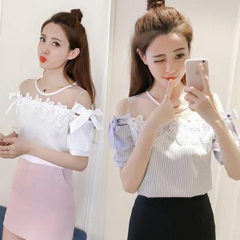 韓國KW 甜美蝴蝶結網紗拼接露肩上衣