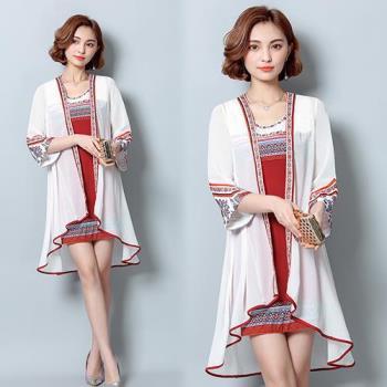 韓國KW 復古民族風印花雪紡罩衫