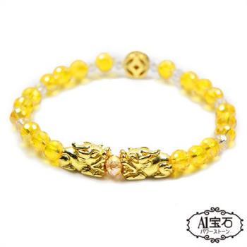 錢滾錢雙貔貅-黃水晶琉璃瑪瑙手鍊-強力招財桃花旺貴人運(含開光)-A1寶石
