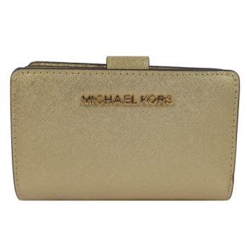 MICHAEL KORS 經典金字LOGO防刮皮革扣式零錢中夾.金