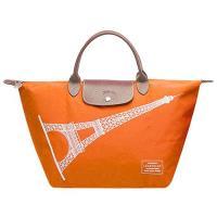 LONGCHAMP 巴黎鐵塔紀念款拉鍊摺疊短把購物包(中-橘色)