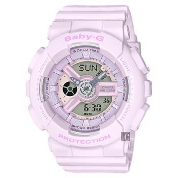 CASIO 卡西歐 Baby-G 花朵系列雙顯手錶-薰衣草紫 BA-110-4A2DR / BA-110-4A2