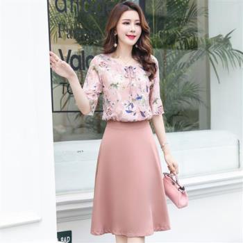 SZ 時尚淑女印花兩件式裙套裝M~2XL(共二色)